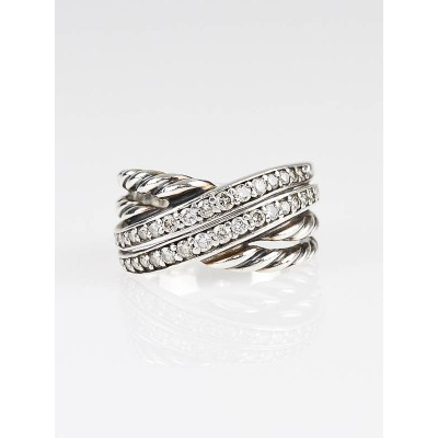 David Yurman Sterling Silver Cable Crossover Pave Diamond Ring Size 7