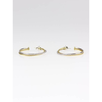 David Yurman 18k Gold and Diamond Crossover Hoop Earrings