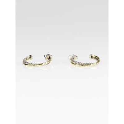 David Yurman Sterling Silver and 18k Gold Cable Crossover Hoop Earrings