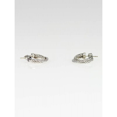 David Yurman Sterling Silver and 14k White Gold Diamond Crossover Earring