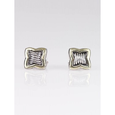 David Yurman Sterling Silver and 14k Gold Quatrefoil Stud Earrings