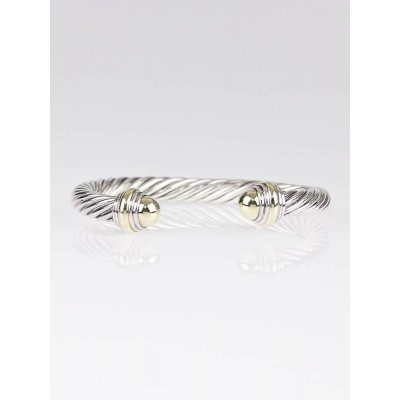 David Yurman 7mm 14k Gold and Sterling Silver Cable Bracelet