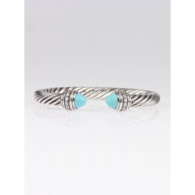 David Yurman 7mm Sterling Silver and Turquoise with Diamonds Cable Cuff Bracelet