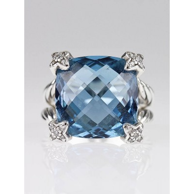 David Yurman 15mm Blue Topaz and Diamond Cushion-on-Point Ring Size 7