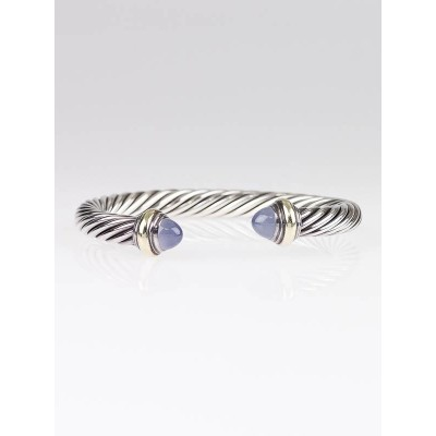 David Yurman 7mm Sterling Silver Cable Blue Chalcedony Classics Bracelet