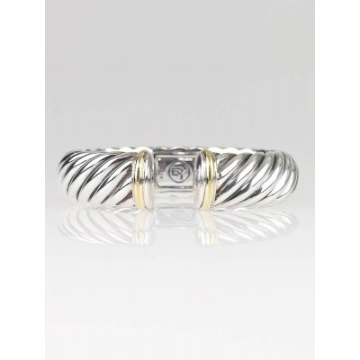 David Yurman 15mm 18k Gold and Sterling Silver Carved Cable Bracelet