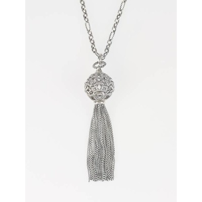 David Yurman Pave Diamonds and Sterling Silver Cable & Tapestry Tassel Pendant