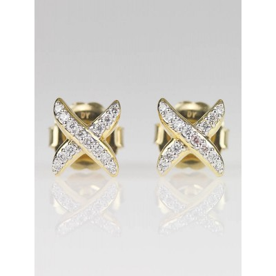 David Yurman 18k Gold and Pave Diamond X Stud Earrings