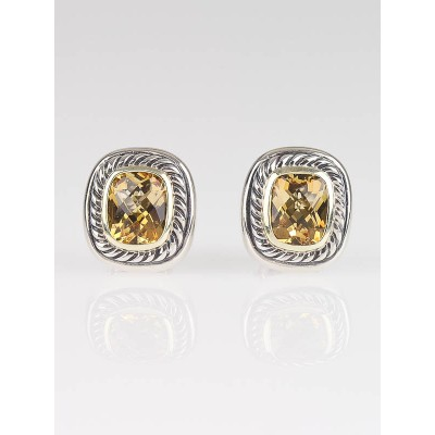 David Yurman 8mm Citrine and Sterling Silver Albion Earrings