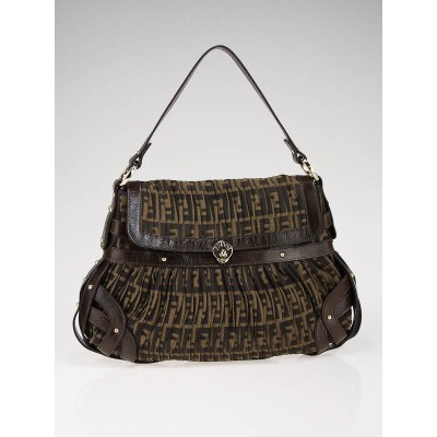Fendi Zucca Canvas Caged Flap Shoulder Bag