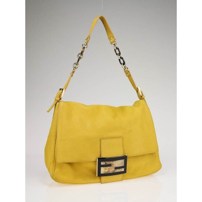 Fendi Yellow Leather 'Forever Mama' Large Flap Bag