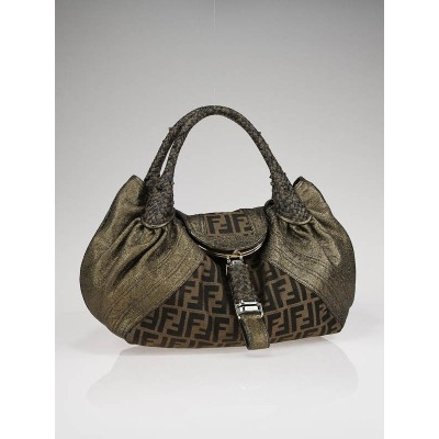Fendi Tobacco Zucca Print Nappa Leather Spy Bag