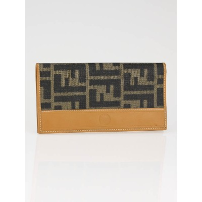 Fendi Tobacco Zucca Canvas Checkbook Holder