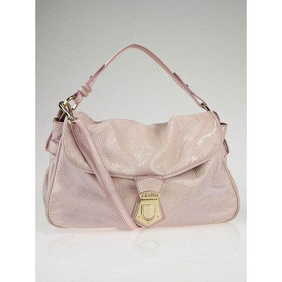 Fendi Pink Patent Leather Push-Lock Shoulder Bag
