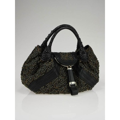 Fendi Limited Edition Tobacco Zucca Studded Nappa Spy Bag