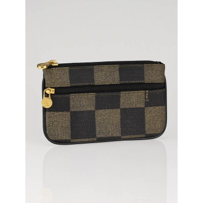 Fendi Checked Coated Canvas Multi-Zip Pouch Wallet