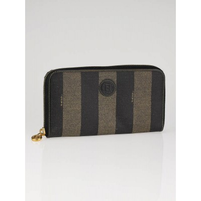 Fendi Striped Coated Canvas Zippy Wallet