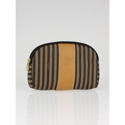 Fendi Striped Print Canvas Small Cosmetic Pouch