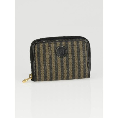 Fendi Striped Coated Canvas Zip Coin Pouch