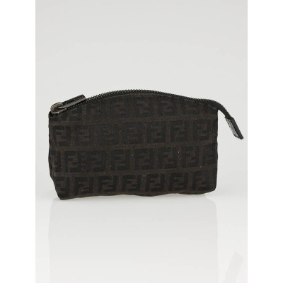 Fendi Brown Tobacco Zucca Canvas Small Zip Pouch