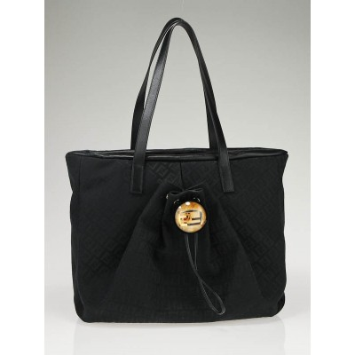 Fendi Black Zucchino Canvas and Leather Trim Tote Bag