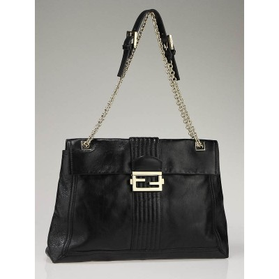 Fendi Black Leather Maxi Baguette Bag