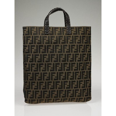 Fendi Tobacco Zucca Print Canvas Selleria Special Large Shopping Tote Bag