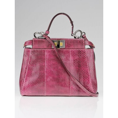 Fendi Pink Snakeskin Leather Mini Peekaboo Satchel Bag