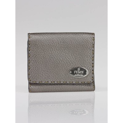 Fendi Metallic Silver Selleria Leather Compact Tri-Fold Wallet