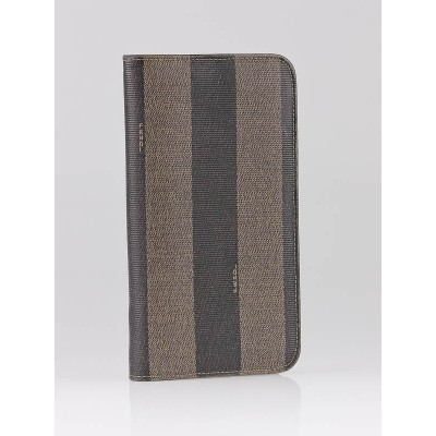 Fendi Brown/Black Striped Coated Canvas Long Zippy Wallet