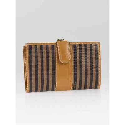 Fendi Brown/Black Striped Coated Canvas French Purse Wallet