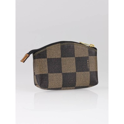 Fendi Brown/Black Checked Coated Canvas Mini Accessory Pouch