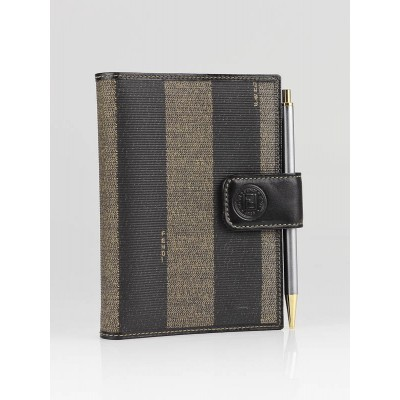 Fendi Black/Brown Striped Coated Canvas Small Agenda Cover