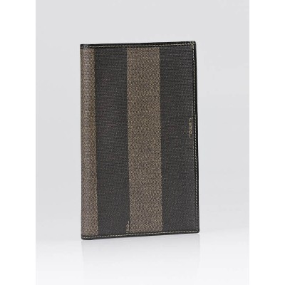 Fendi Black/Brown Striped Coated Canvas Long Bi-Fold Wallet