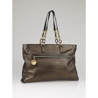 Fendi Gold/Black Striped Metallic Striped Leather Tote Bag