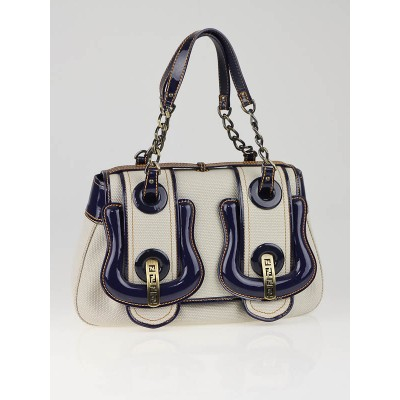 Fendi Beige Canvas and Blue Patent Leather B Bag