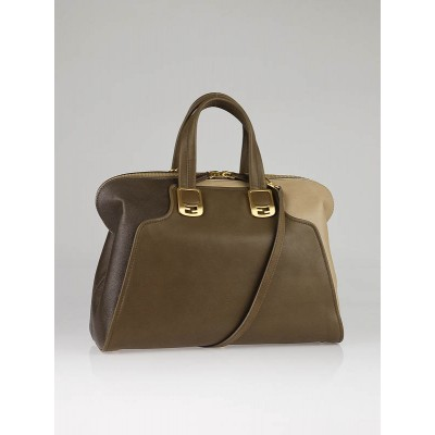 Fendi Taupe Tri-Color Leather Chameleon Large Satchel Bag