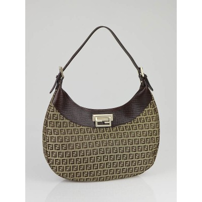 Fendi Brown Zucchino Canvas Clip Hobo Bag