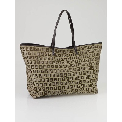 Fendi Beige/Brown Zucchino Canvas Medium Roll Tote Bag