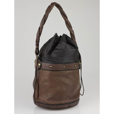 Fendi Taupe Leather Palazzo Drawstring Bucket Bag