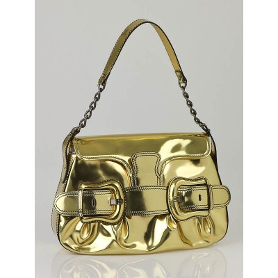Fendi Metallic Gold Leather B Bis Bag