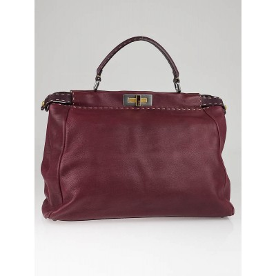 Fendi Burgundy Leather Large Peekaboo Satchel Bag