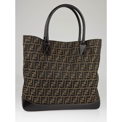 Fendi Tobacco Zucca Print Canvas Large Shopping Tote Bag