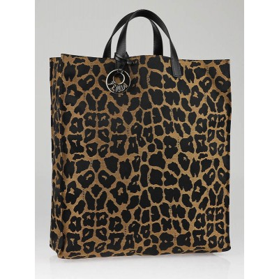 Fendi Jaguar Print Canvas Vertical Tote Bag