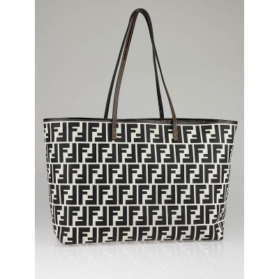 Fendi Black/White Zucca Canvas Roll Bag 8BH126