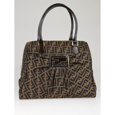 Fendi Tobacco Zucca Print Canvas Mia Large Tote  Bag