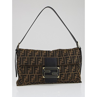 Fendi Tobacco Zucca Print Large Convertible Baguette Bag