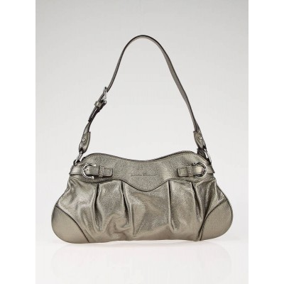 Salvatore Ferragamo Bronze Calfskin Leather Marisa Small Shoulder Bag