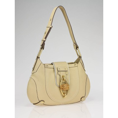 Salvatore Ferragamo Beige Pebbled Calfskin Leather Shoulder Bag