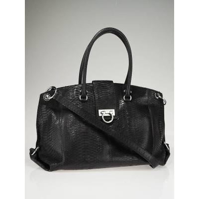 Salvatore Ferragamo Black Python Tulipan Large Tote Bag